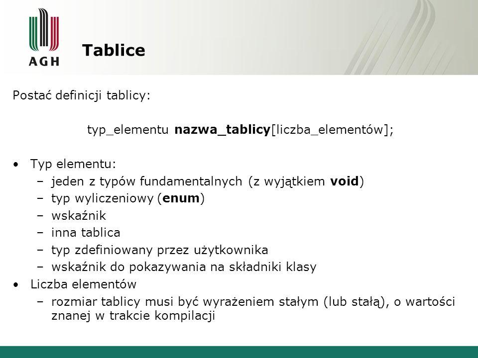 Tablice Postać definicji tablicy: typ_elementu nazwa_tablicy[liczba_elementów]; Typ elementu: –jeden z typów fundamentalnych (z wyjątkiem void) –typ wyliczeniowy (enum) –wskaźnik –inna tablica –typ zdefiniowany przez użytkownika –wskaźnik do pokazywania na składniki klasy Liczba elementów –rozmiar tablicy musi być wyrażeniem stałym (lub stałą), o wartości znanej w trakcie kompilacji