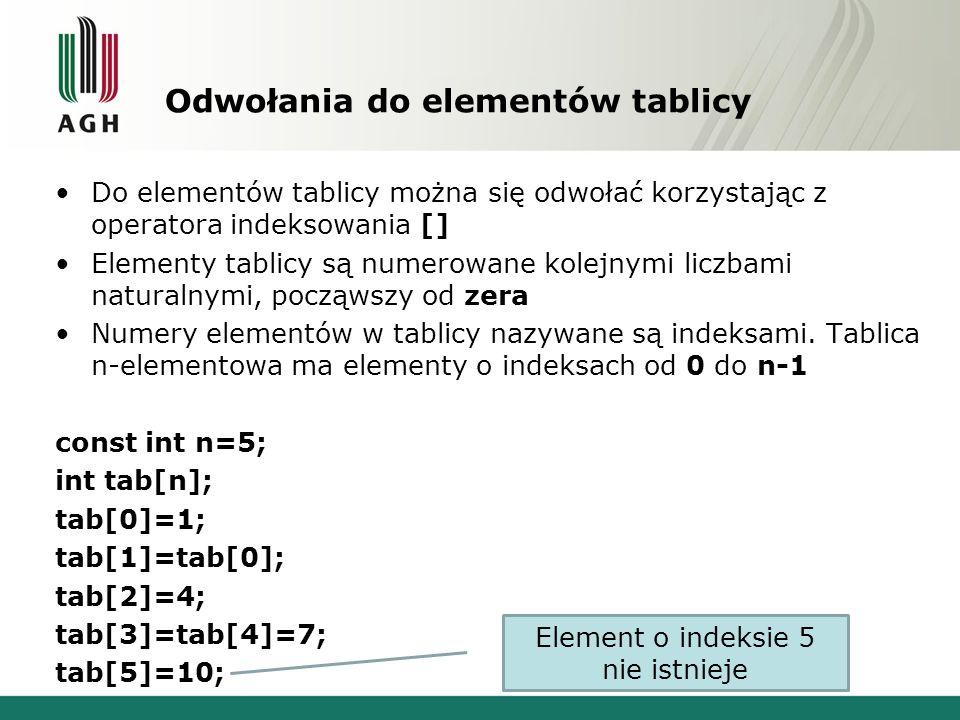 Odwołania do elementów tablicy Do elementów tablicy można się odwołać korzystając z operatora indeksowania [] Elementy tablicy są numerowane kolejnymi liczbami naturalnymi, począwszy od zera Numery elementów w tablicy nazywane są indeksami.