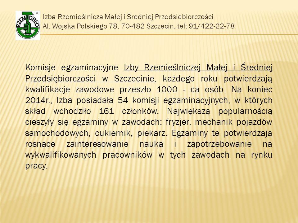 Izba Rzemieślnicza Małej i Średniej Przedsiębiorczości Al. Wojska Polskiego 78, 70-482 Szczecin, tel: 91/422-22-78 Komisje egzaminacyjne Izby Rzemieśl