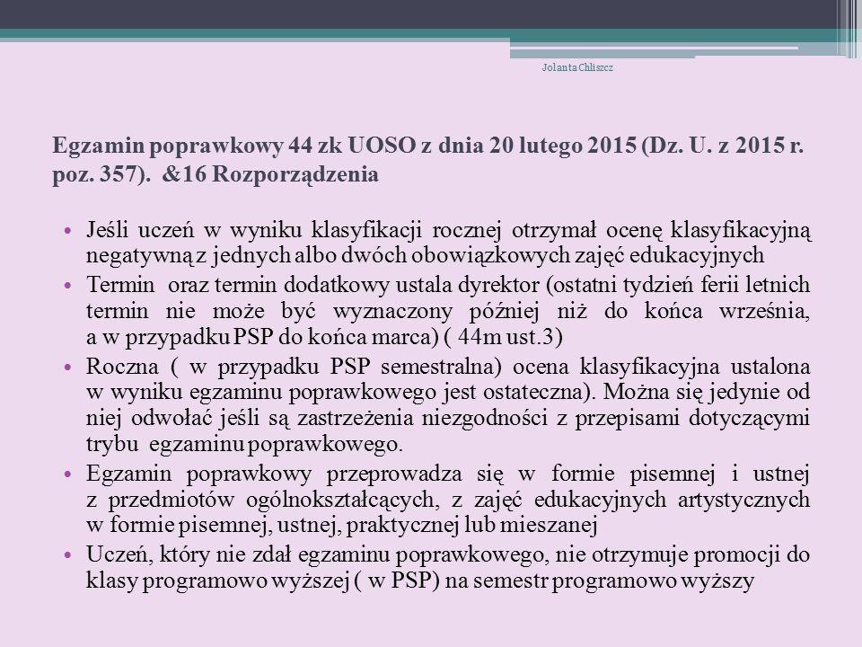 Egzamin poprawkowy 44 zk UOSO z dnia 20 lutego 2015 (Dz.