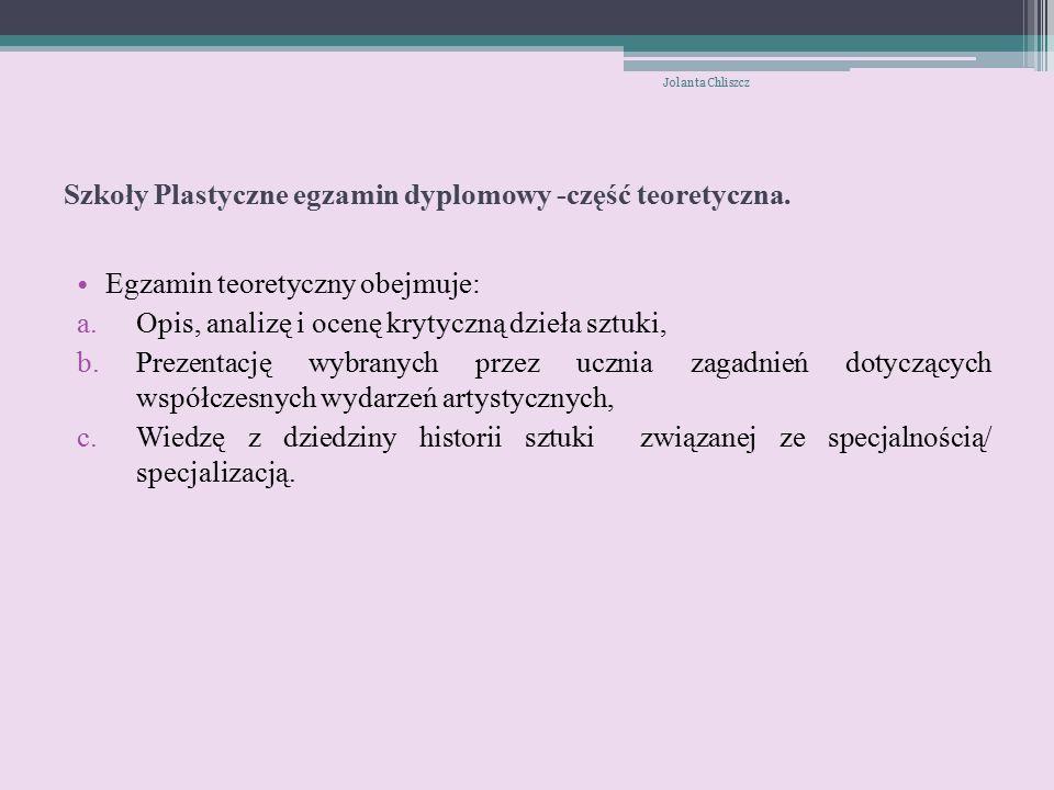 Szkoły Plastyczne egzamin dyplomowy -część teoretyczna.