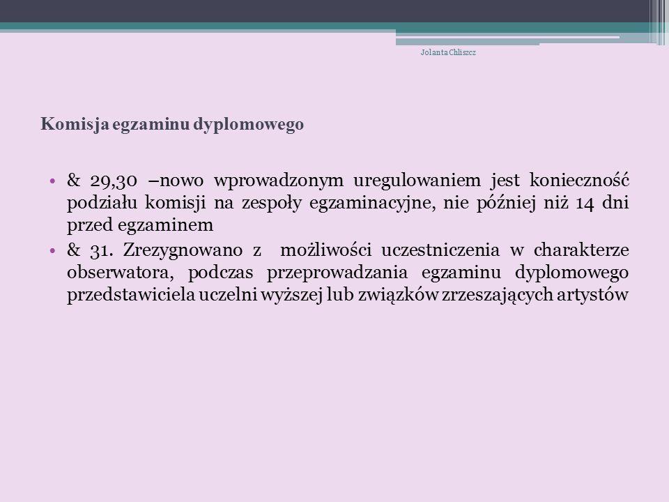 Komisja egzaminu dyplomowego & 29,30 –nowo wprowadzonym uregulowaniem jest konieczność podziału komisji na zespoły egzaminacyjne, nie później niż 14 dni przed egzaminem & 31.