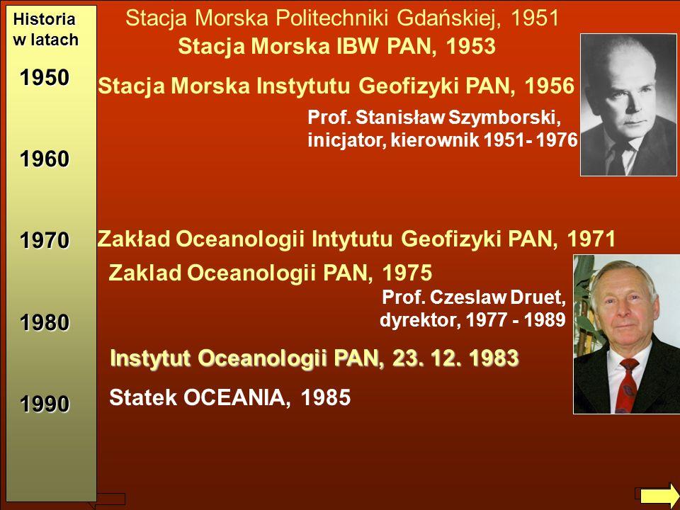 Jerzy Dera, Zarys historii IO PAN Stacja Morska IBW PAN, 1953 Zakład Oceanologii Intytutu Geofizyki PAN, 1971 Stacja Morska Instytutu Geofizyki PAN, 1