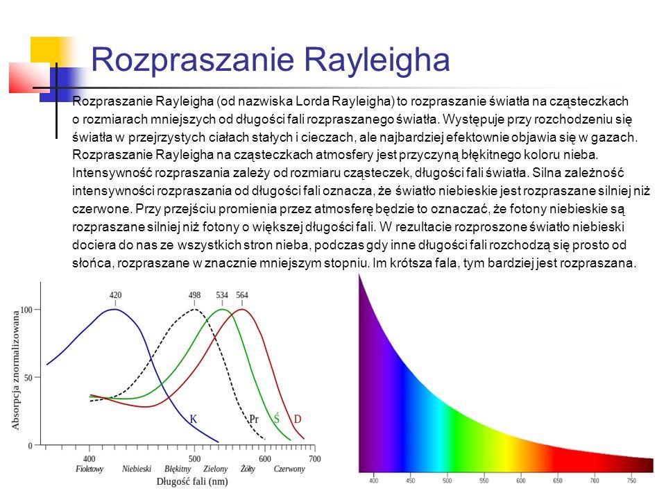 Rozpraszanie Rayleigha Rozpraszanie Rayleigha (od nazwiska Lorda Rayleigha) to rozpraszanie światła na cząsteczkach o rozmiarach mniejszych od długości fali rozpraszanego światła.