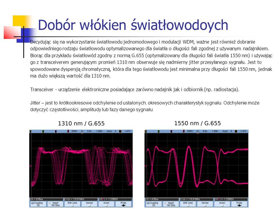 Dobór włókien światłowodoych Decydując się na wykorzystanie światłowodu jednomodowego i modulacji WDM, ważne jest również dobranie odpowiedniego rodzaju światłowodu optymalizowanego dla światła o długości fali zgodnej z używanym nadajnikiem.