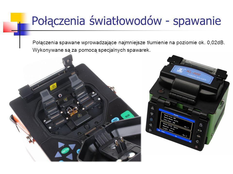 Połączenia światłowodów - spawanie Połączenia spawane wprowadzające najmniejsze tłumienie na poziomie ok. 0,02dB. Wykonywane są za pomocą specjalnych