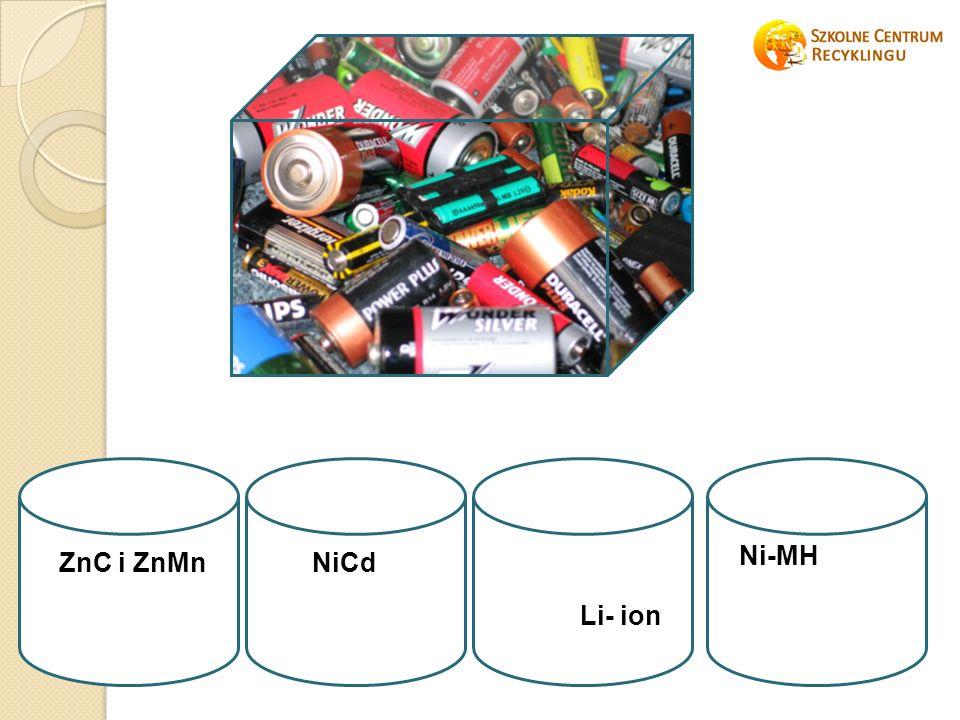 ZnC i ZnMnNiCd Li- ion Ni-MH