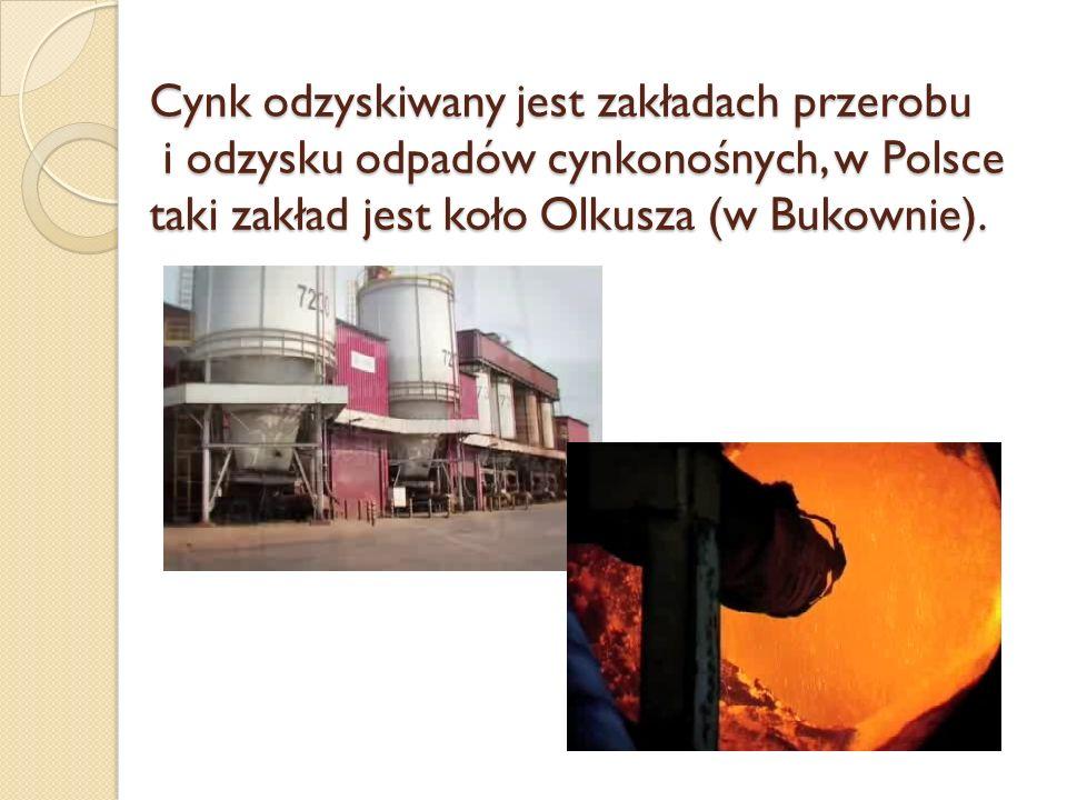 Cynk odzyskiwany jest zakładach przerobu i odzysku odpadów cynkonośnych, w Polsce taki zakład jest koło Olkusza (w Bukownie).