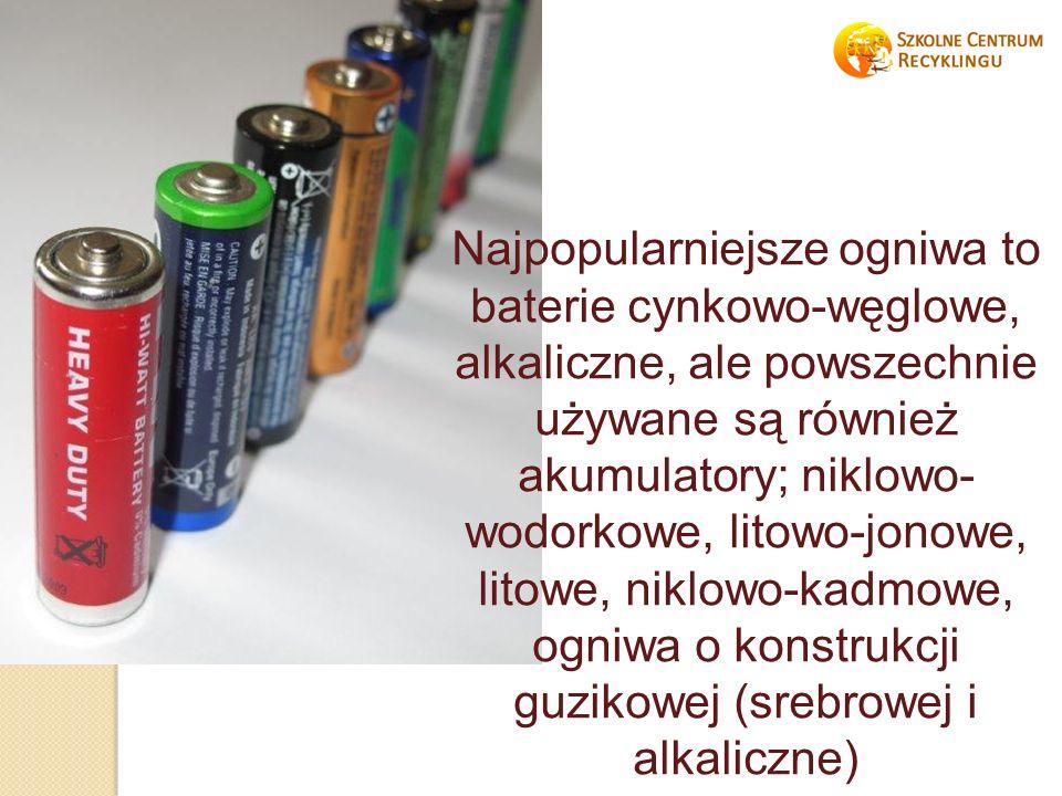 Najpopularniejsze ogniwa to baterie cynkowo-węglowe, alkaliczne, ale powszechnie używane są również akumulatory; niklowo- wodorkowe, litowo-jonowe, litowe, niklowo-kadmowe, ogniwa o konstrukcji guzikowej (srebrowej i alkaliczne)