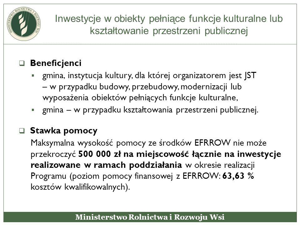 Inwestycje w obiekty pełniące funkcje kulturalne lub kształtowanie przestrzeni publicznej  Beneficjenci  gmina, instytucja kultury, dla której organ