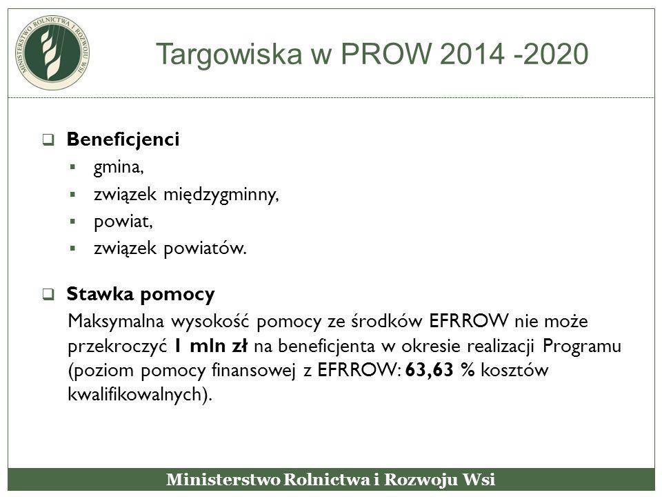 Targowiska w PROW 2014 -2020  Beneficjenci  gmina,  związek międzygminny,  powiat,  związek powiatów.  Stawka pomocy Maksymalna wysokość pomocy