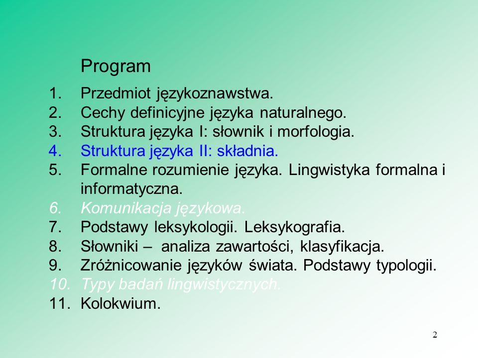 3 Program 1.Przedmiot językoznawstwa.2.Cechy definicyjne języka naturalnego.