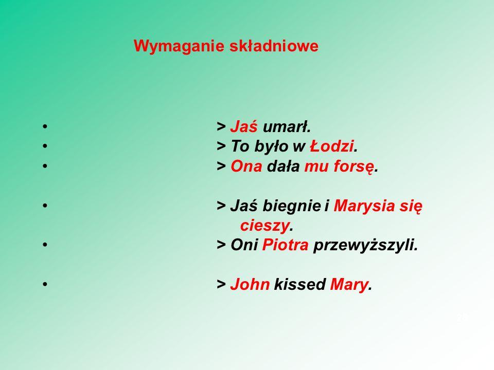 > Jaś umarł. > To było w Łodzi. > Ona dała mu forsę. > Jaś biegnie i Marysia się cieszy. > Oni Piotra przewyższyli. > John kissed Mary. 28 Wymaganie s