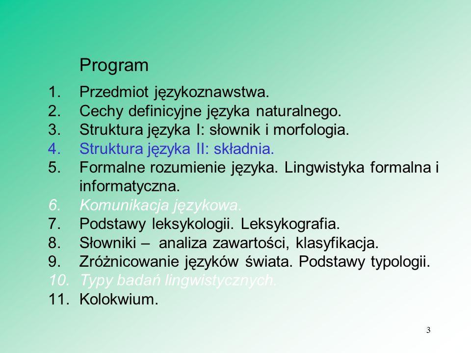 3 Program 1.Przedmiot językoznawstwa. 2.Cechy definicyjne języka naturalnego. 3.Struktura języka I: słownik i morfologia. 4.Struktura języka II: skład