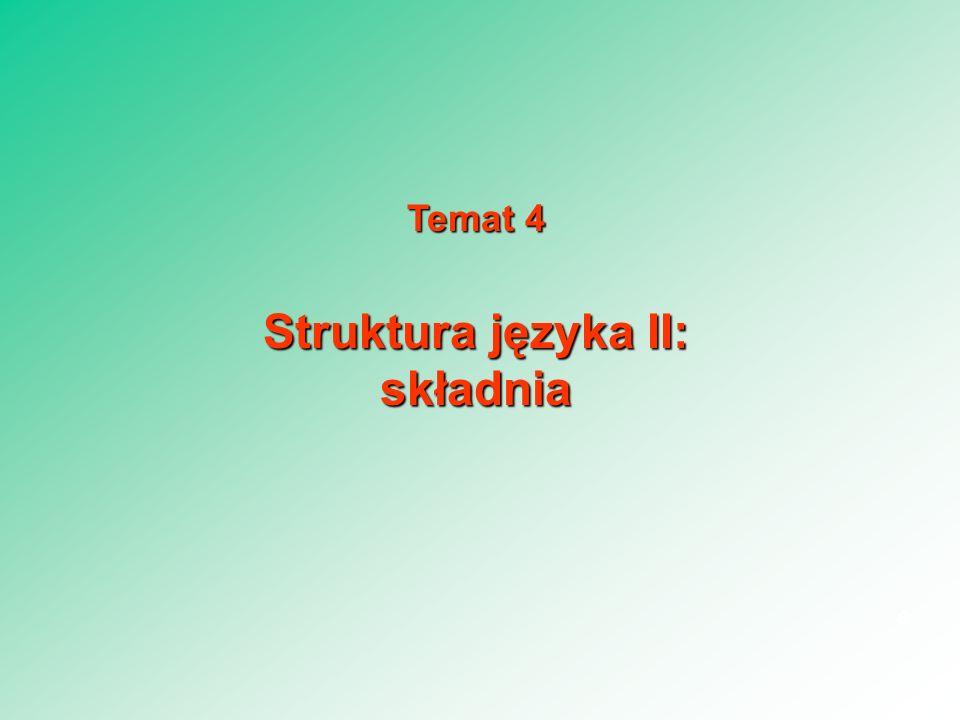 Temat 4 Struktura języka II: składnia 6