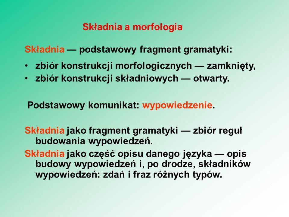 jak się buduje wypowiedzenie (synteza) i jak się je rozkłada (analiza); z jakiego surowca tworzy się wypowiedzenia (składniki); co stanowi spoiwo wyrażeń językowych (mechanizmy zdaniotwórcze).