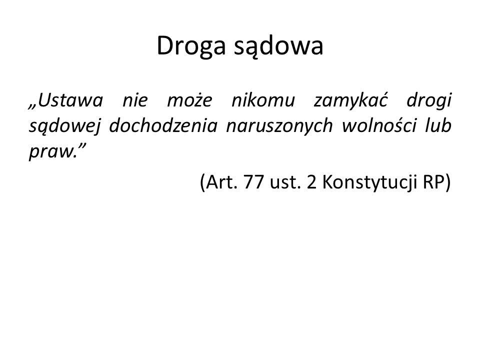 """Droga sądowa """"Ustawa nie może nikomu zamykać drogi sądowej dochodzenia naruszonych wolności lub praw."""" (Art. 77 ust. 2 Konstytucji RP)"""