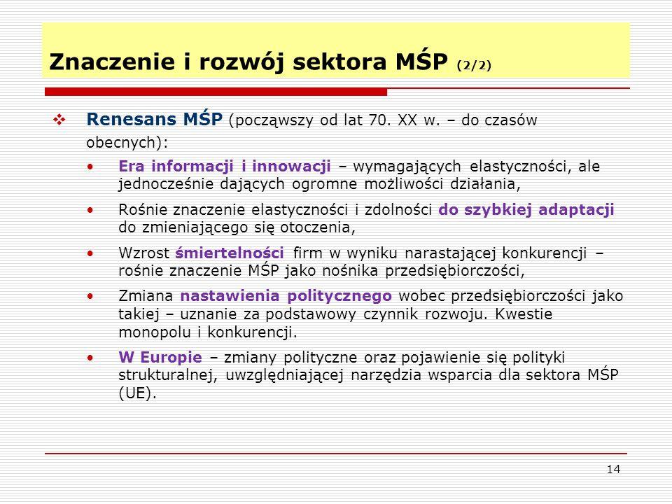 14 Znaczenie i rozwój sektora MŚP (2/2)  Renesans MŚP (począwszy od lat 70.