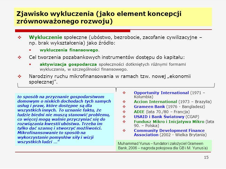 15 Zjawisko wykluczenia (jako element koncepcji zrównoważonego rozwoju)  Wykluczenie społeczne (ubóstwo, bezrobocie, zacofanie cywilizacyjne – np.