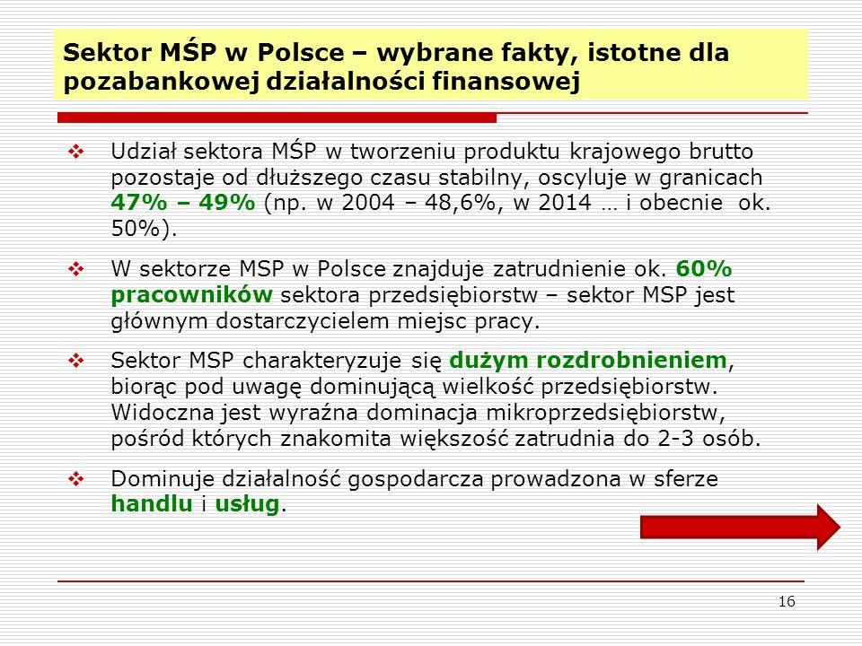16 Sektor MŚP w Polsce – wybrane fakty, istotne dla pozabankowej działalności finansowej  Udział sektora MŚP w tworzeniu produktu krajowego brutto pozostaje od dłuższego czasu stabilny, oscyluje w granicach 47% – 49% (np.