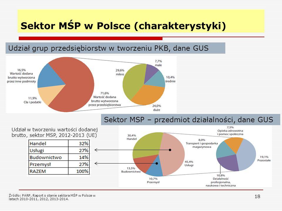 18 Sektor MŚP w Polsce (charakterystyki) Udział grup przedsiębiorstw w tworzeniu PKB, dane GUS Źródło: PARP, Raport o stanie sektora MŚP w Polsce w latach 2010-2011, 2012, 2013-2014.