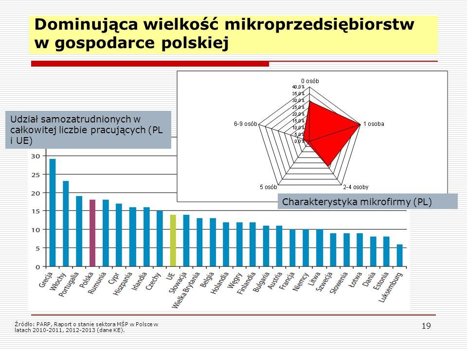 19 Dominująca wielkość mikroprzedsiębiorstw w gospodarce polskiej Udział samozatrudnionych w całkowitej liczbie pracujących (PL i UE) Charakterystyka mikrofirmy (PL) Źródło: PARP, Raport o stanie sektora MŚP w Polsce w latach 2010-2011, 2012-2013 (dane KE).