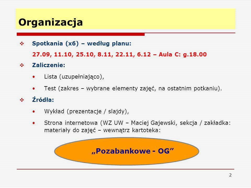 2 Organizacja  Spotkania (x6) – według planu: 27.09, 11.10, 25.10, 8.11, 22.11, 6.12 – Aula C: g.18.00  Zaliczenie: Lista (uzupełniająco), Test (zakres – wybrane elementy zajęć, na ostatnim potkaniu).