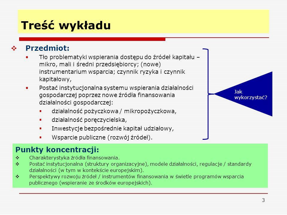 3 Treść wykładu  Przedmiot: Tło problematyki wspierania dostępu do źródeł kapitału – mikro, mali i średni przedsiębiorcy; (nowe) instrumentarium wsparcia; czynnik ryzyka i czynnik kapitałowy, Postać instytucjonalna systemu wspierania działalności gospodarczej poprzez nowe źródła finansowania działalności gospodarczej:  działalność pożyczkowa / mikropożyczkowa,  działalność poręczycielska,  Inwestycje bezpośrednie kapitał udziałowy,  Wsparcie publiczne (rozwój źródeł).