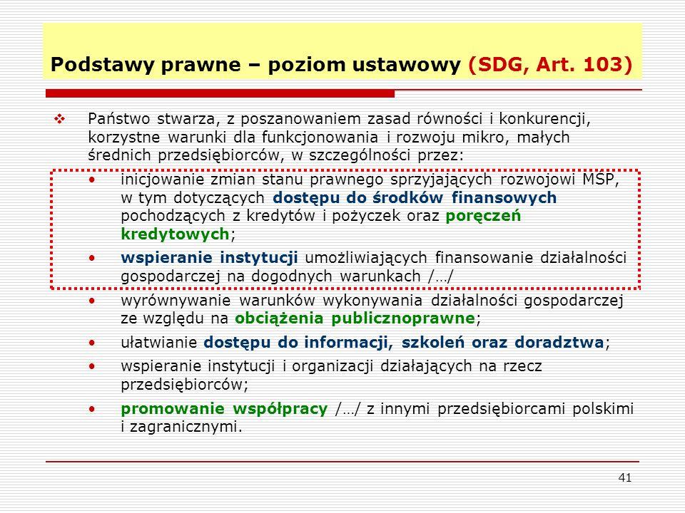 41 Podstawy prawne – poziom ustawowy (SDG, Art.