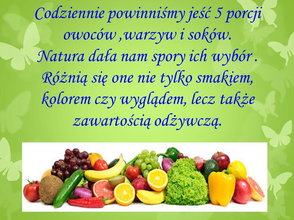 Codziennie powinniśmy jeść 5 porcji owoców,warzyw i soków.