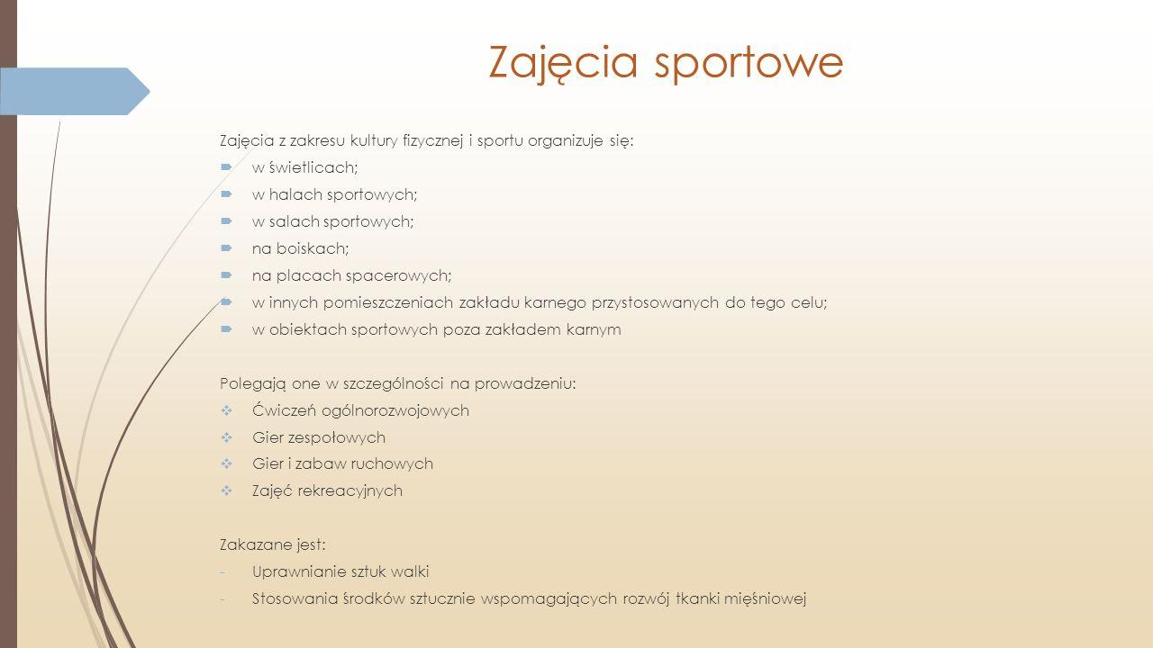 Zajęcia sportowe Zajęcia z zakresu kultury fizycznej i sportu organizuje się:  w świetlicach;  w halach sportowych;  w salach sportowych;  na bois