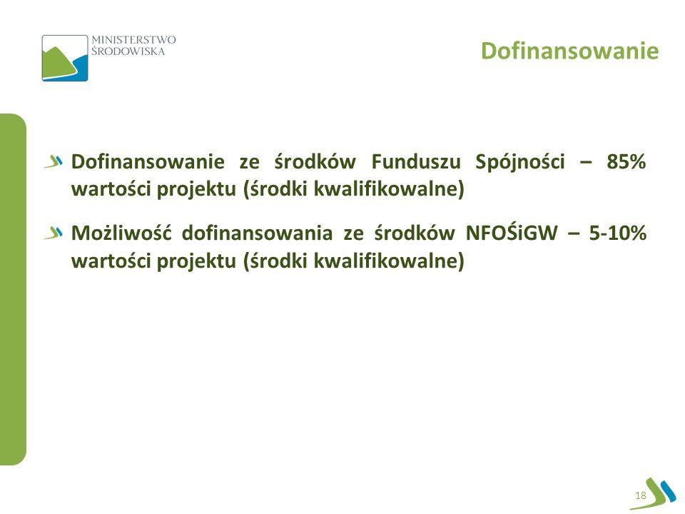 Dofinansowanie 18 Dofinansowanie ze środków Funduszu Spójności – 85% wartości projektu (środki kwalifikowalne) Możliwość dofinansowania ze środków NFOŚiGW – 5-10% wartości projektu (środki kwalifikowalne)