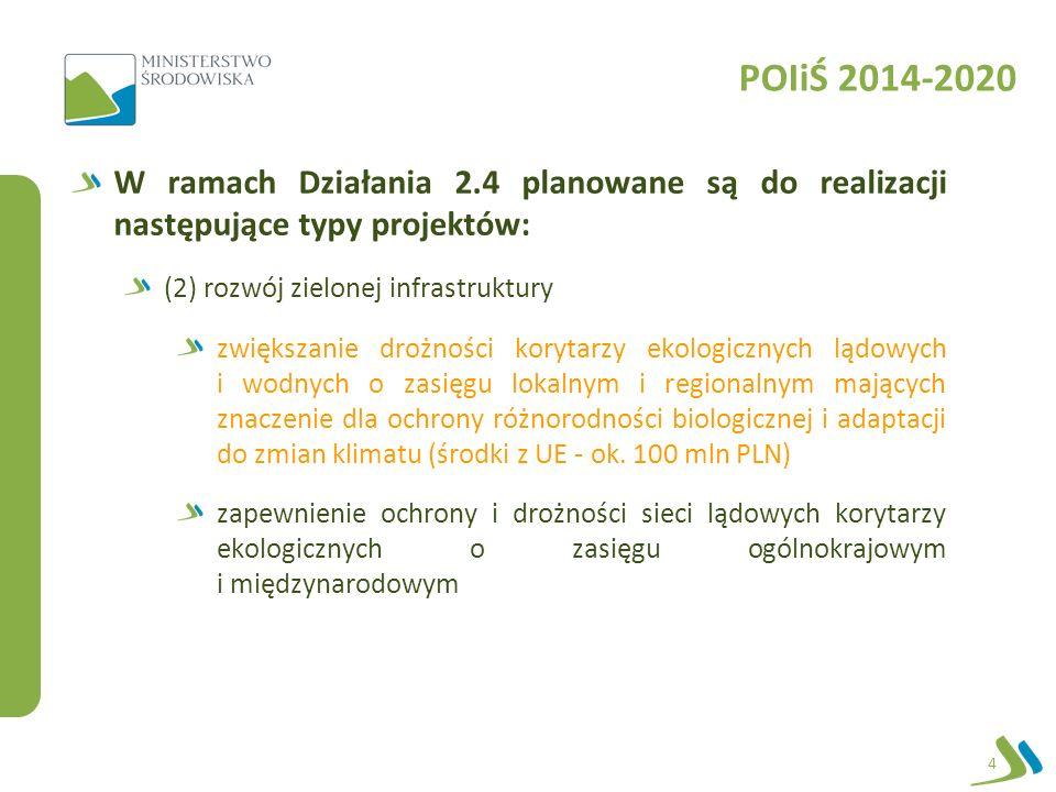 POIiŚ 2014-2020 W ramach Działania 2.4 planowane są do realizacji następujące typy projektów: (2) rozwój zielonej infrastruktury zwiększanie drożności korytarzy ekologicznych lądowych i wodnych o zasięgu lokalnym i regionalnym mających znaczenie dla ochrony różnorodności biologicznej i adaptacji do zmian klimatu (środki z UE - ok.
