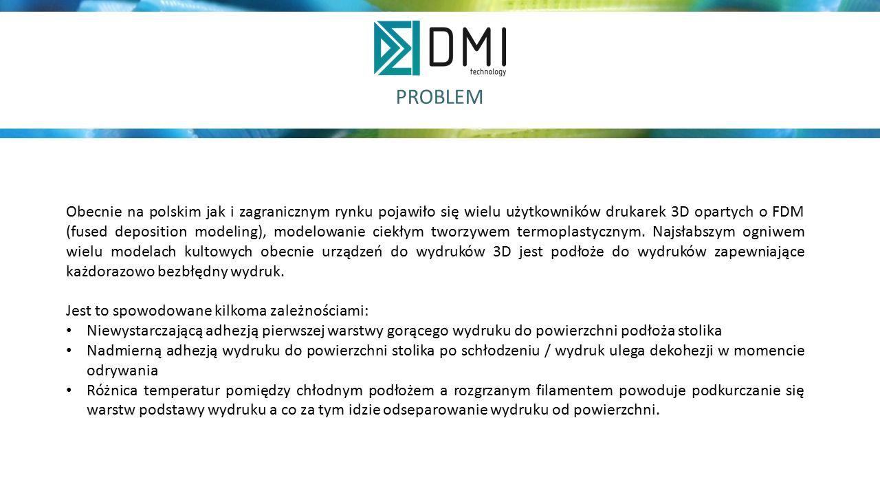 PROBLEM Obecnie na polskim jak i zagranicznym rynku pojawiło się wielu użytkowników drukarek 3D opartych o FDM (fused deposition modeling), modelowanie ciekłym tworzywem termoplastycznym.
