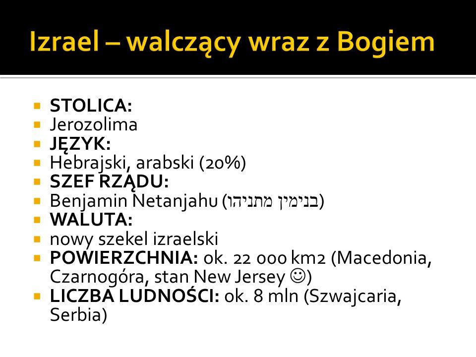  STOLICA:  Jerozolima  JĘZYK:  Hebrajski, arabski (20%)  SZEF RZĄDU:  Benjamin Netanjahu ( בנימין מתניהו )  WALUTA:  nowy szekel izraelski  P