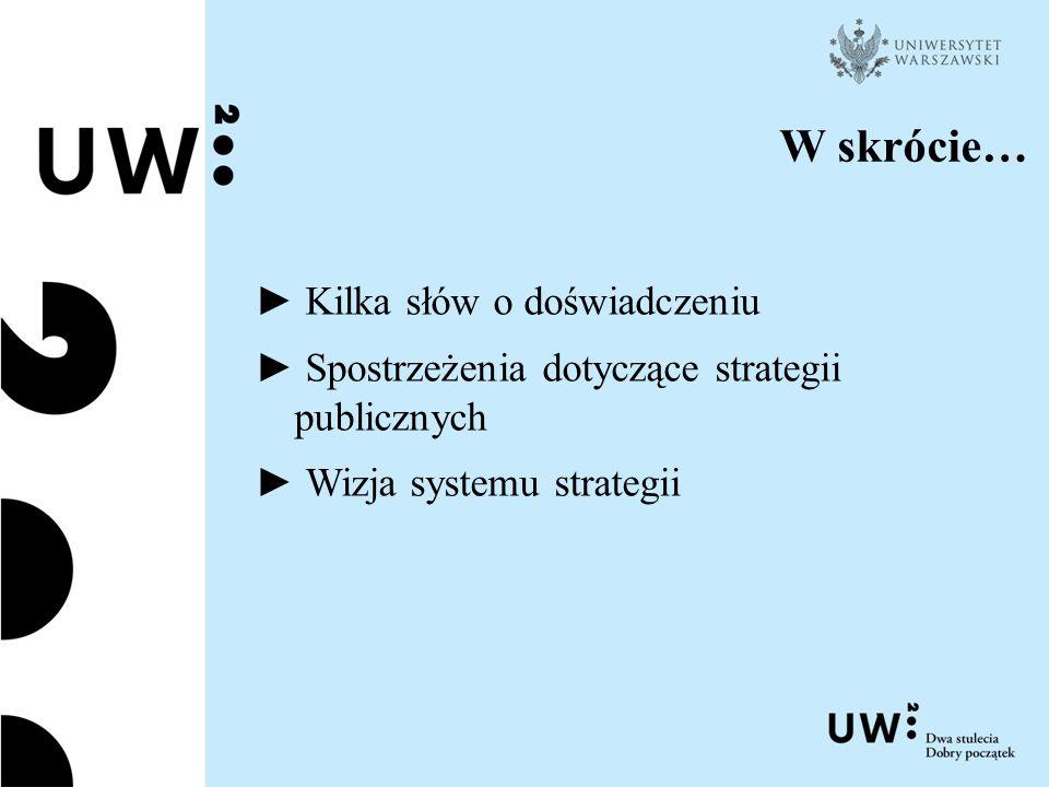 W skrócie… ► Kilka słów o doświadczeniu ► Spostrzeżenia dotyczące strategii publicznych ► Wizja systemu strategii