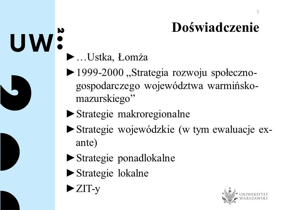 """Doświadczenie ► …Ustka, Łomża ► 1999-2000 """"Strategia rozwoju społeczno- gospodarczego województwa warmińsko- mazurskiego ► Strategie makroregionalne ► Strategie wojewódzkie (w tym ewaluacje ex- ante) ► Strategie ponadlokalne ► Strategie lokalne ► ZIT-y 3"""