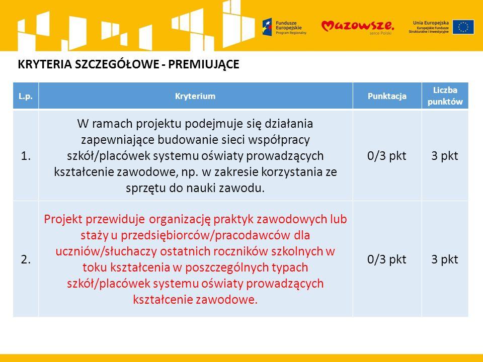 L.p.KryteriumPunktacja Liczba punktów 1. W ramach projektu podejmuje się działania zapewniające budowanie sieci współpracy szkół/placówek systemu oświ