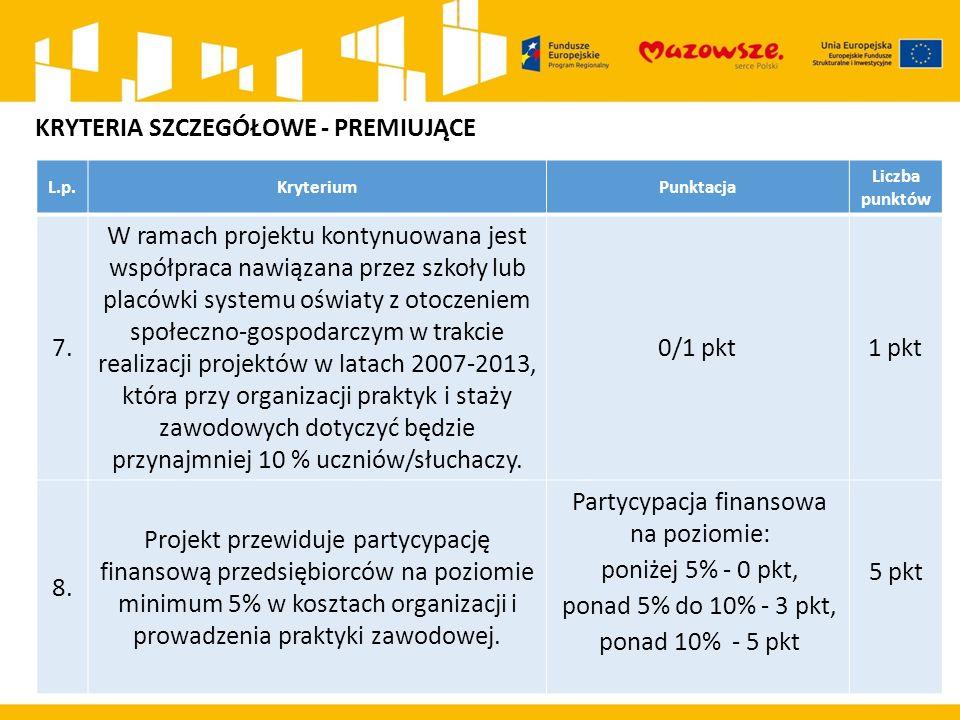 L.p.KryteriumPunktacja Liczba punktów 7. W ramach projektu kontynuowana jest współpraca nawiązana przez szkoły lub placówki systemu oświaty z otoczeni