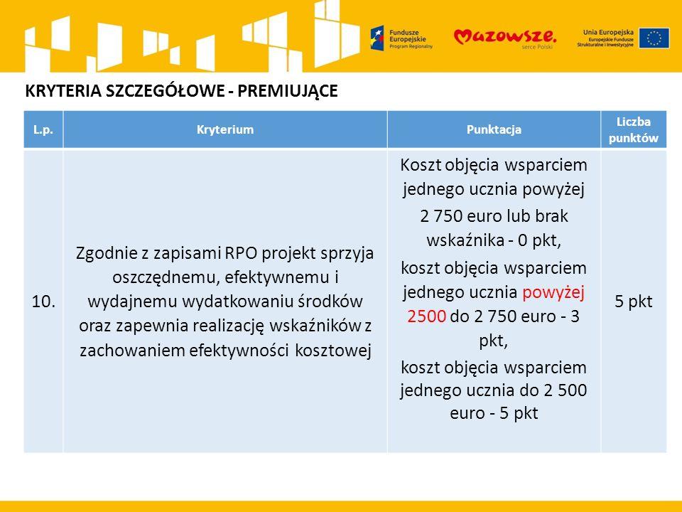 L.p.KryteriumPunktacja Liczba punktów 10. Zgodnie z zapisami RPO projekt sprzyja oszczędnemu, efektywnemu i wydajnemu wydatkowaniu środków oraz zapewn