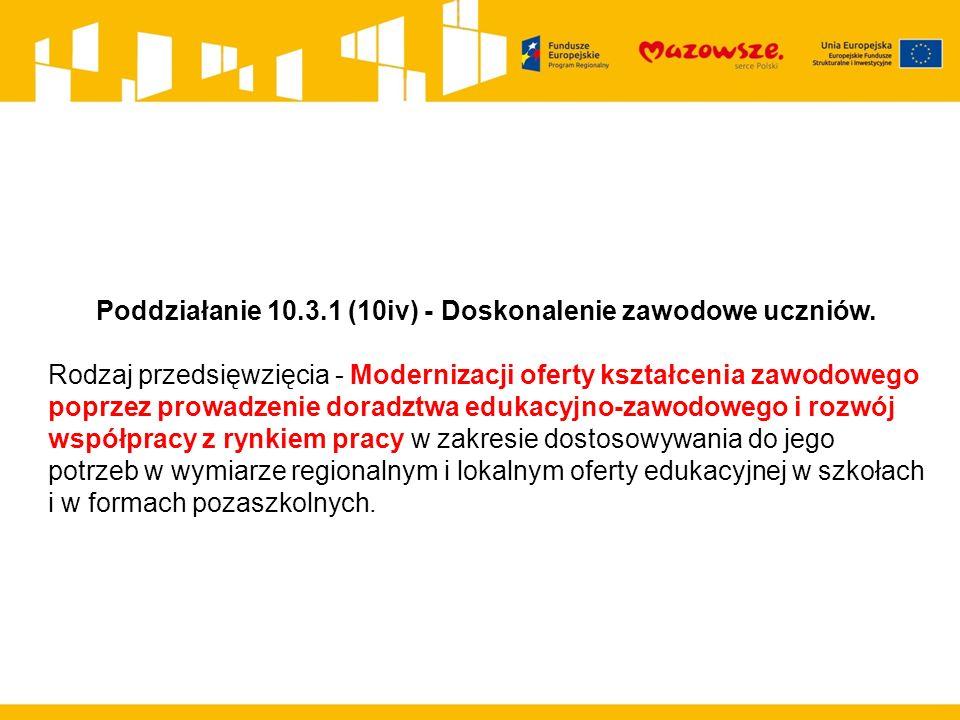 Poddziałanie 10.3.1 (10iv) - Doskonalenie zawodowe uczniów. Rodzaj przedsięwzięcia - Modernizacji oferty kształcenia zawodowego poprzez prowadzenie do