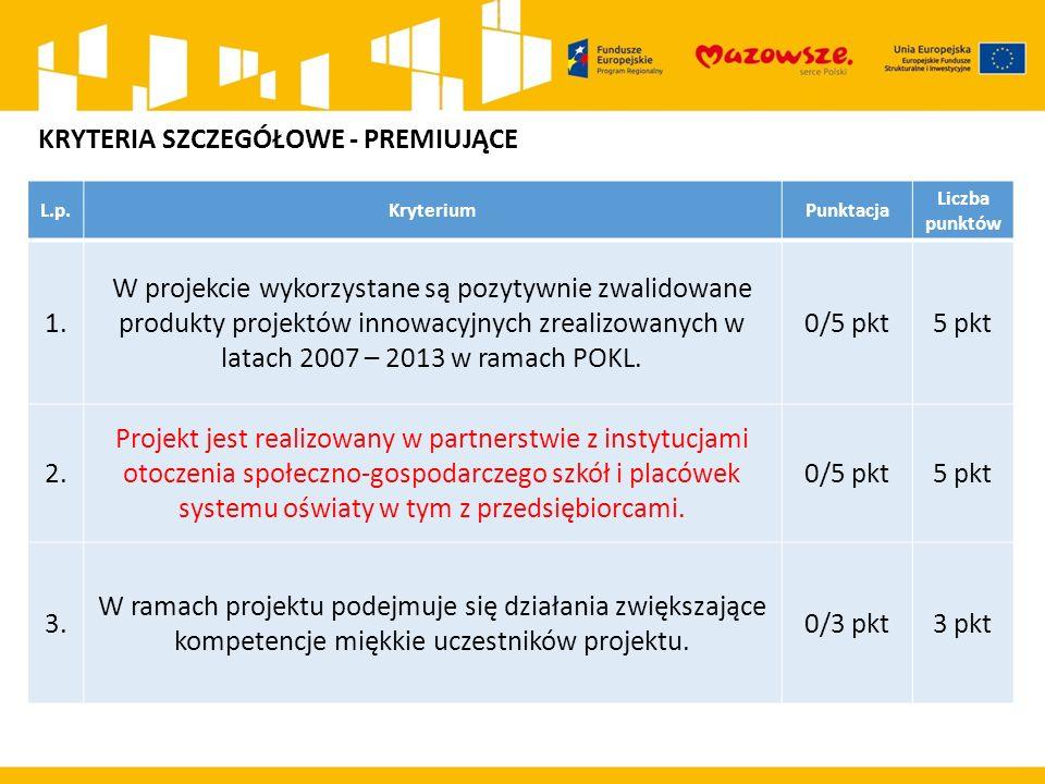 L.p.KryteriumPunktacja Liczba punktów 1. W projekcie wykorzystane są pozytywnie zwalidowane produkty projektów innowacyjnych zrealizowanych w latach 2