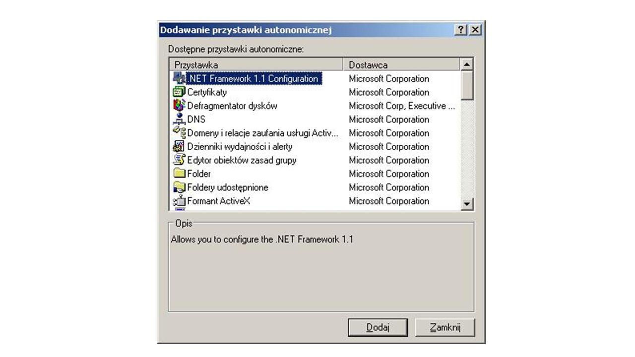 Załóżmy, że na potrzeby tworzenia centralnej administracji potrzebne są następujące przystawki: Zarządzanie komputerem Użytkownicy i komputery Active Directory Oprócz tego wzbogacamy konsolę o kilka folderów.