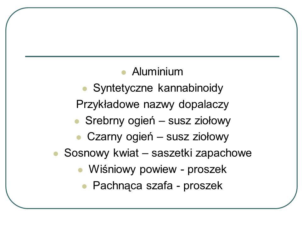 Aluminium Syntetyczne kannabinoidy Przykładowe nazwy dopalaczy Srebrny ogień – susz ziołowy Czarny ogień – susz ziołowy Sosnowy kwiat – saszetki zapac