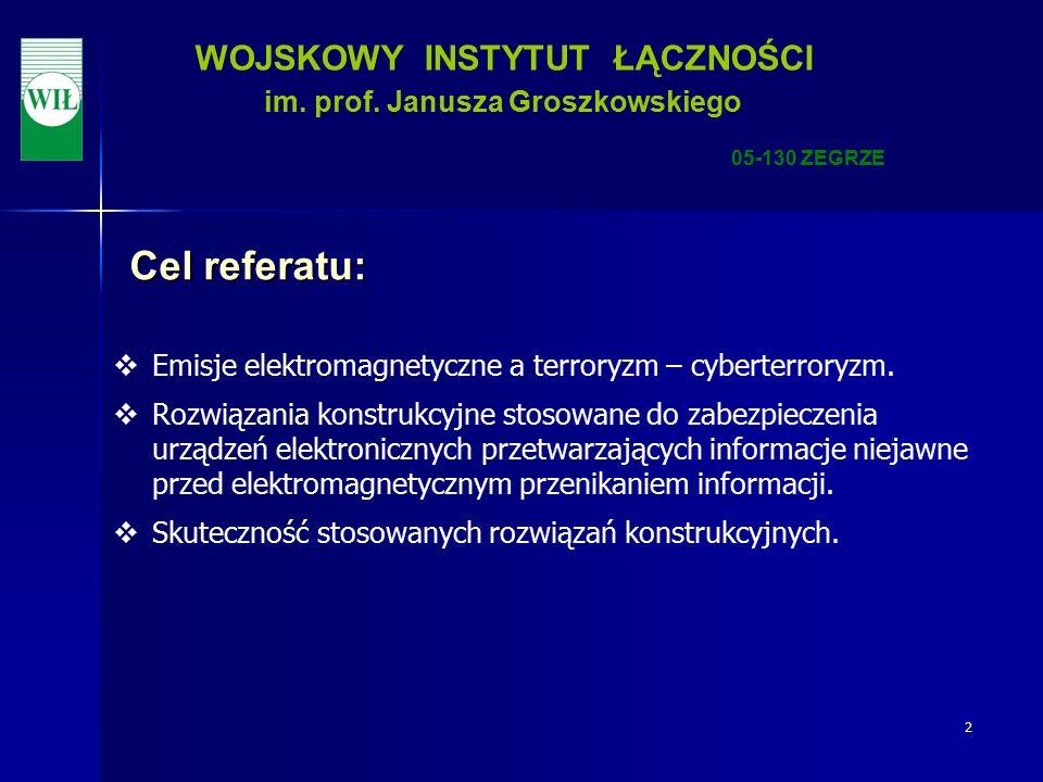 23 WOJSKOWY INSTYTUT ŁĄCZNOŚCI im. prof. Janusza Groszkowskiego 05-130 ZEGRZE Dziękuję za uwagę