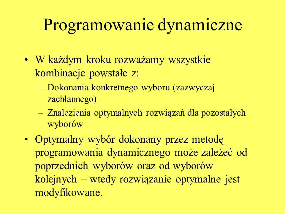 Programowanie dynamiczne W każdym kroku rozważamy wszystkie kombinacje powstałe z: –Dokonania konkretnego wyboru (zazwyczaj zachłannego) –Znalezienia optymalnych rozwiązań dla pozostałych wyborów Optymalny wybór dokonany przez metodę programowania dynamicznego może zależeć od poprzednich wyborów oraz od wyborów kolejnych – wtedy rozwiązanie optymalne jest modyfikowane.