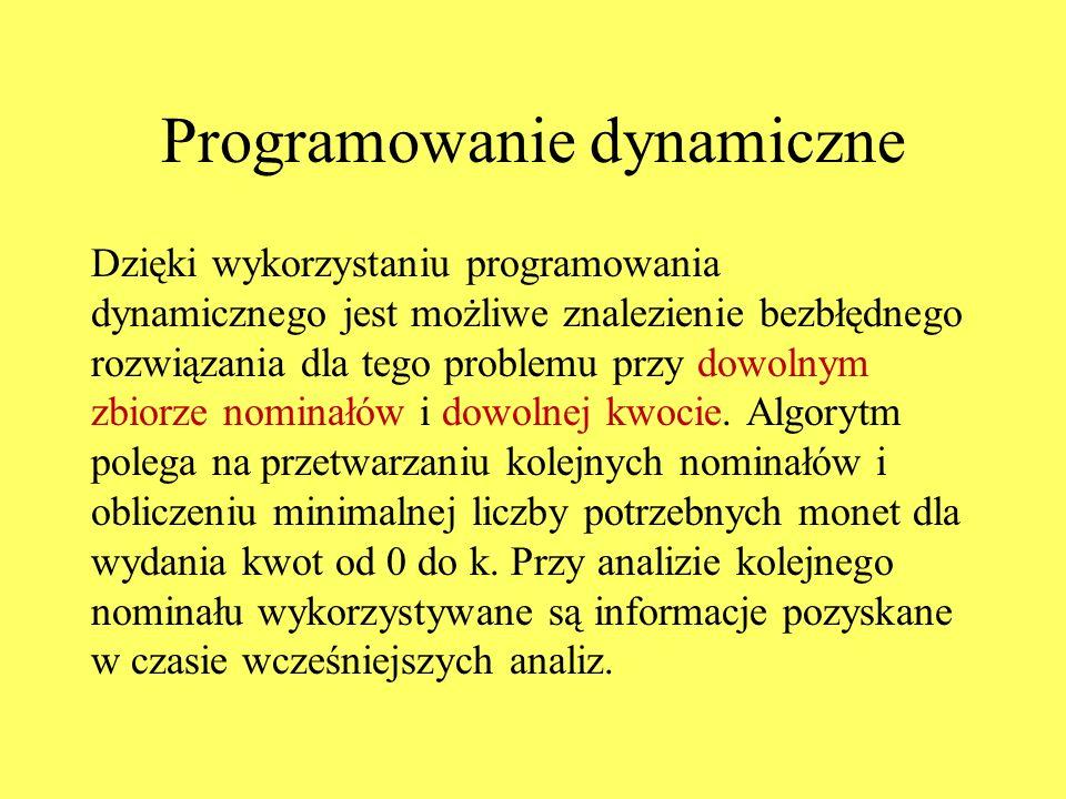 Programowanie dynamiczne Dzięki wykorzystaniu programowania dynamicznego jest możliwe znalezienie bezbłędnego rozwiązania dla tego problemu przy dowolnym zbiorze nominałów i dowolnej kwocie.