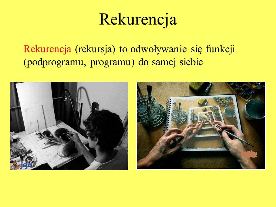 Rekurencja Rekurencja (rekursja) to odwoływanie się funkcji (podprogramu, programu) do samej siebie