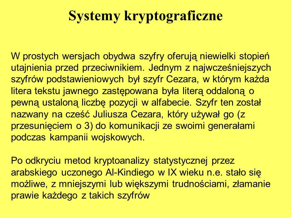 Systemy kryptograficzne W prostych wersjach obydwa szyfry oferują niewielki stopień utajnienia przed przeciwnikiem.