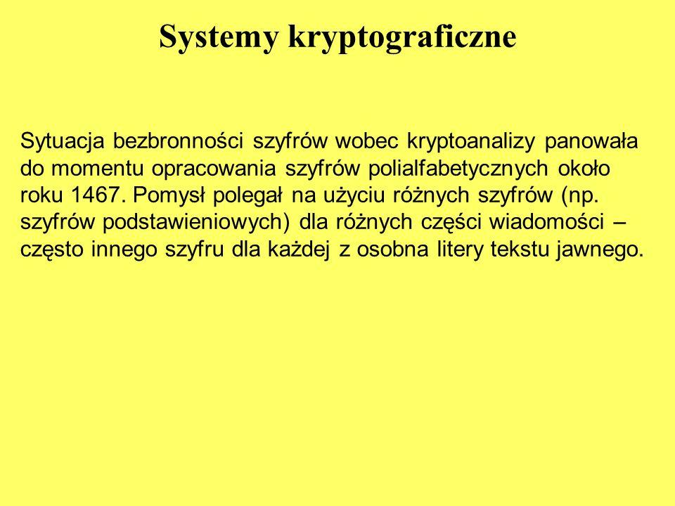 Systemy kryptograficzne Sytuacja bezbronności szyfrów wobec kryptoanalizy panowała do momentu opracowania szyfrów polialfabetycznych około roku 1467.